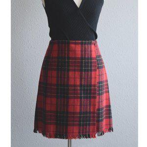 TRIO New York wrap pencil skirt tartan red Size 28